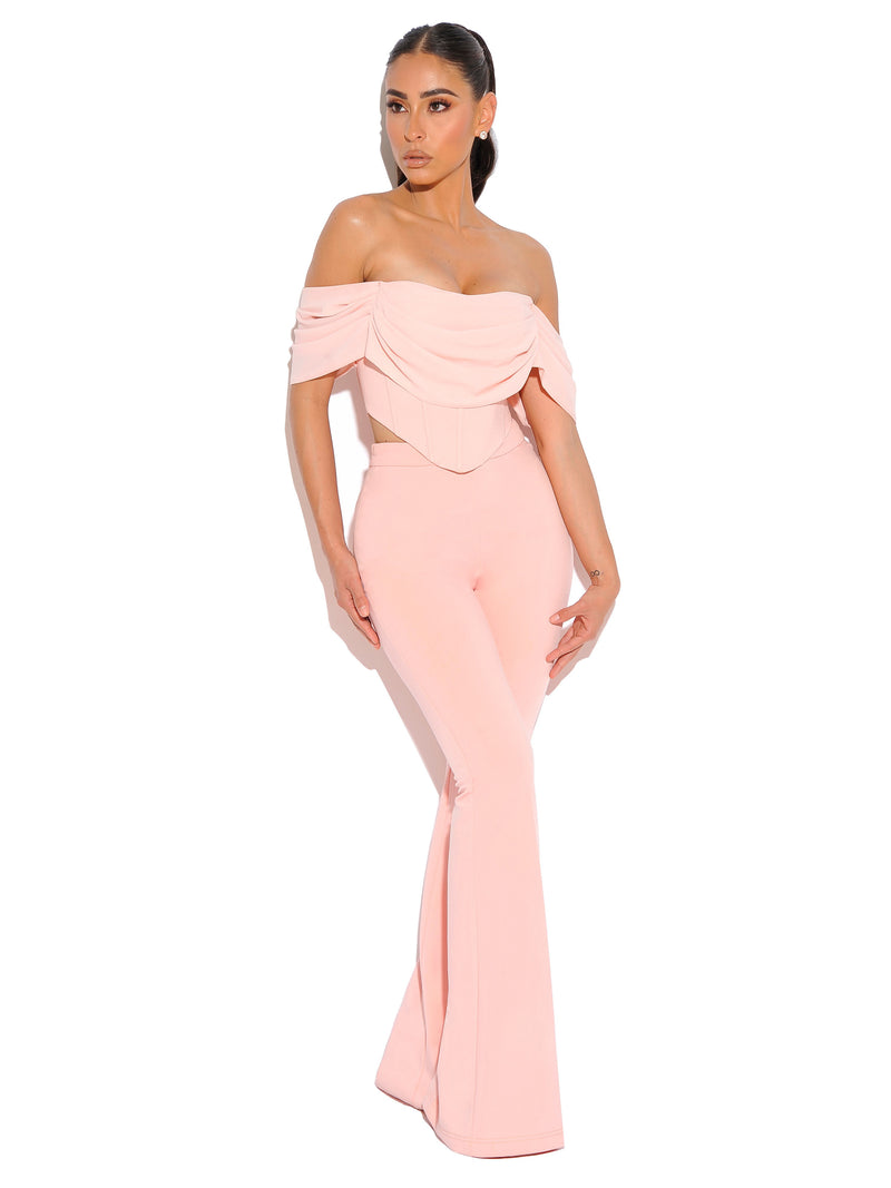 Tia Salmon Pink Off Shoulder Corset Top