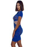 Iren Sheer Mesh and Cobalt Blue Detailed Bandage Dress