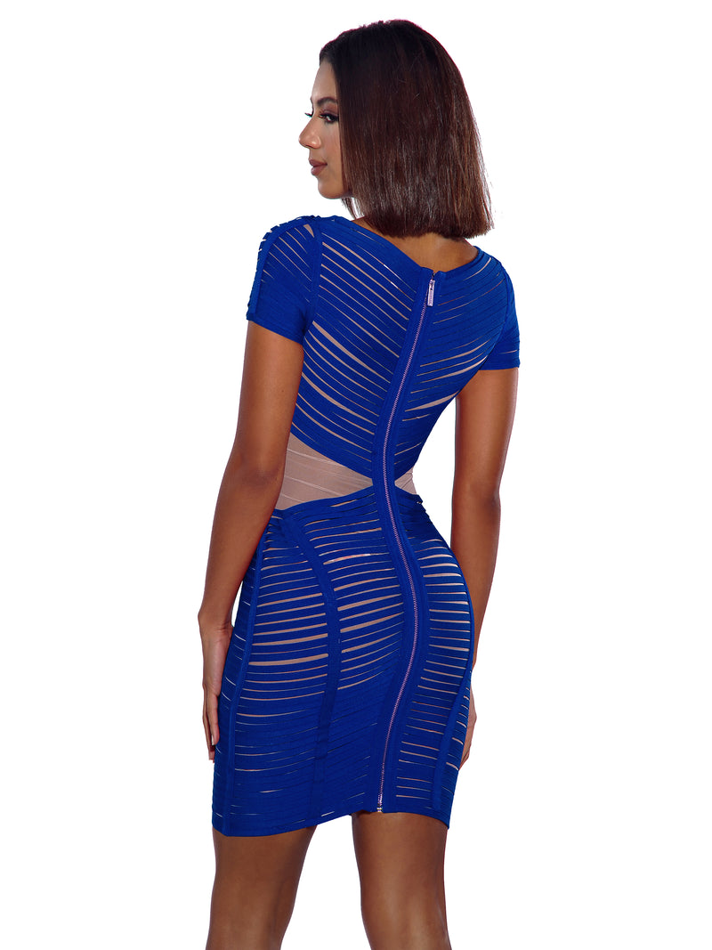 Iren Sheer Mesh and Cobalt Blue Detailed Bandage Dress - Miss Circle