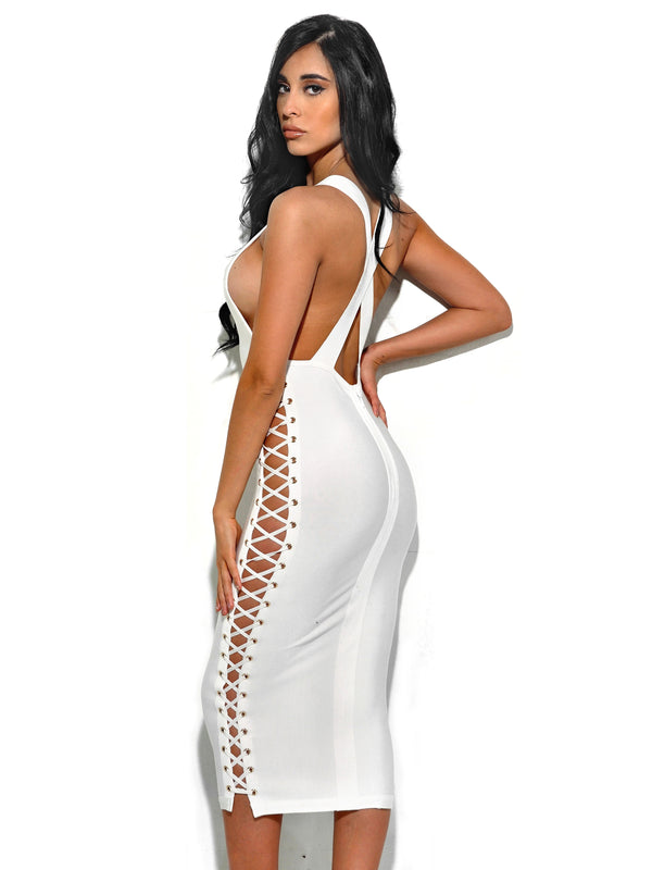 Riyo Lattice Cut Out Detail White Bandage Dress - Miss Circle