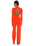 Quinlee Orange Blackless Stretch Crepe Jumpsuit