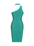Joni Choker Detail Aqua Blue Asymmetric Bandage Dress