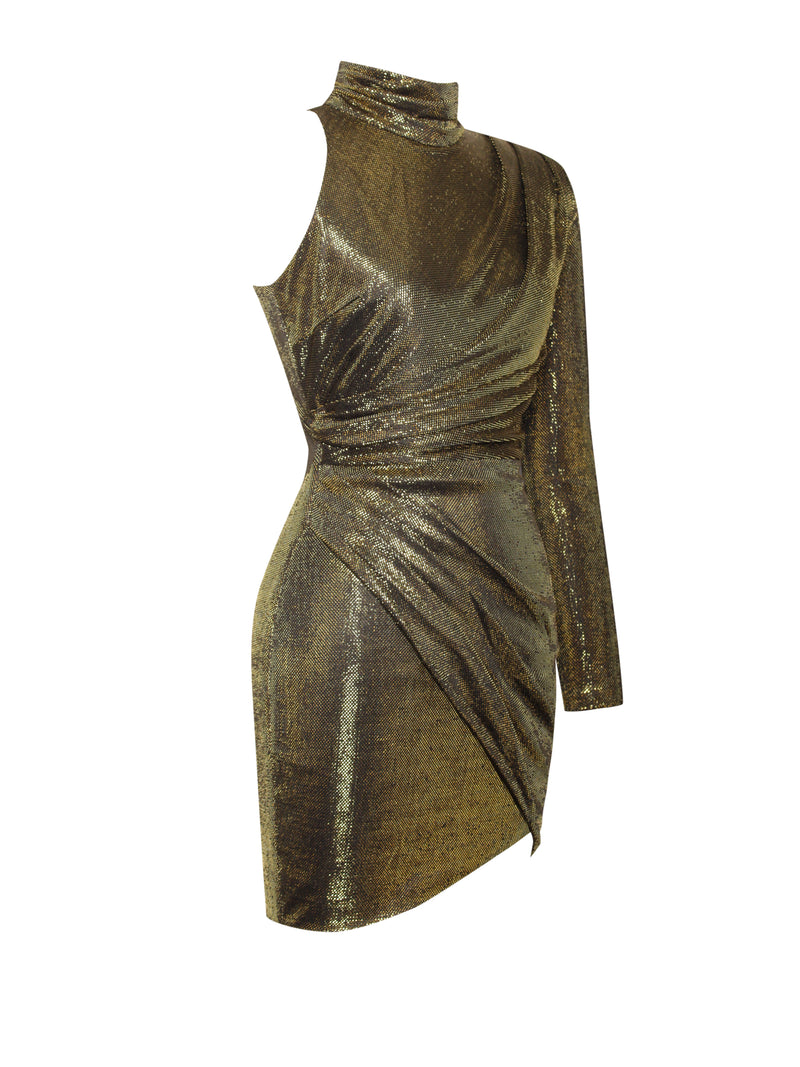 Tavia Gold Metallic One Sleeve Dress