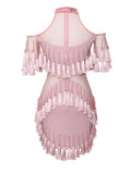 Marlena Pink Tassel Detail Stretch Crepe Dress
