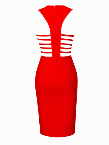 Daya Red Cutout Detail Bandage Dress