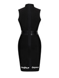 Roslyn Lace Up Cut Out Detail Black Bandage Dress