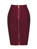Kensie High Waisted Double Zip Burgundy Bandage Skirt