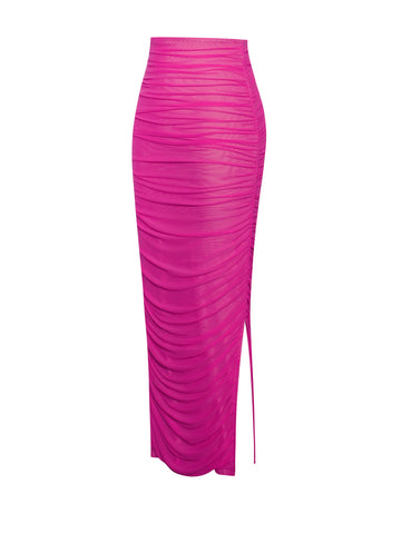 Famous Hot Pink Stretch Mesh Skirt