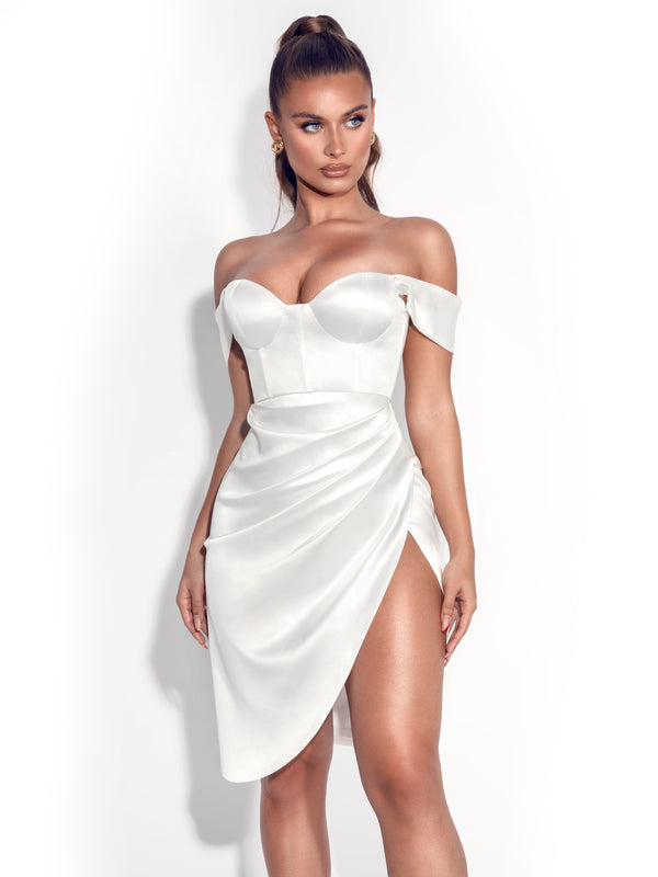 Hedy White Satin Corset Dress