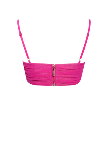Famous Hot Pink Stretch Mesh Top With Centre Ring