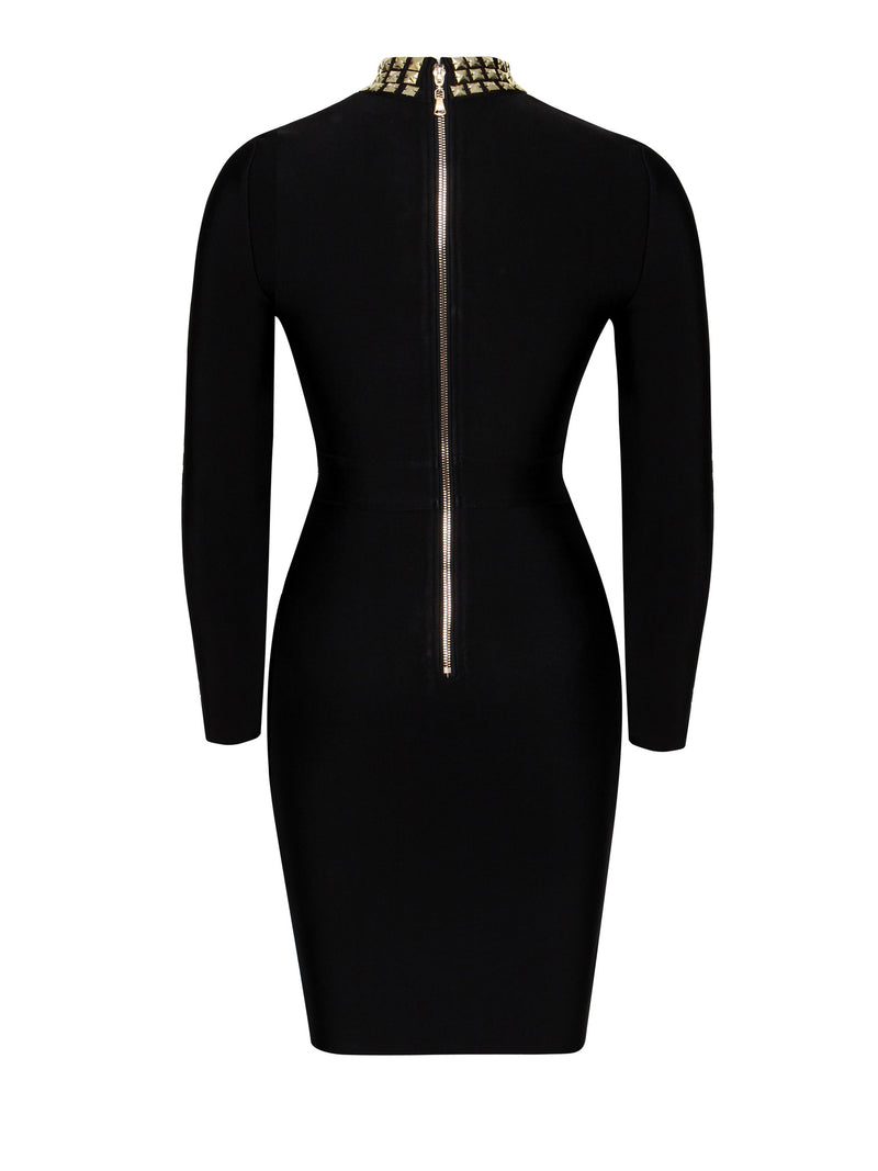 Quinn Gold Stud Detail Long Sleeve Bandage Dress - Miss Circle