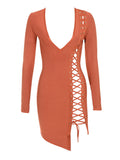 Tatianna Lace Up Detail Long Sleeve Bandage Dress