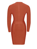 Ximena Cutout Detail Rust Long Sleeve Bandage Dress