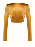 Uli Wrap Front Detail Long Sleeve Crop Top