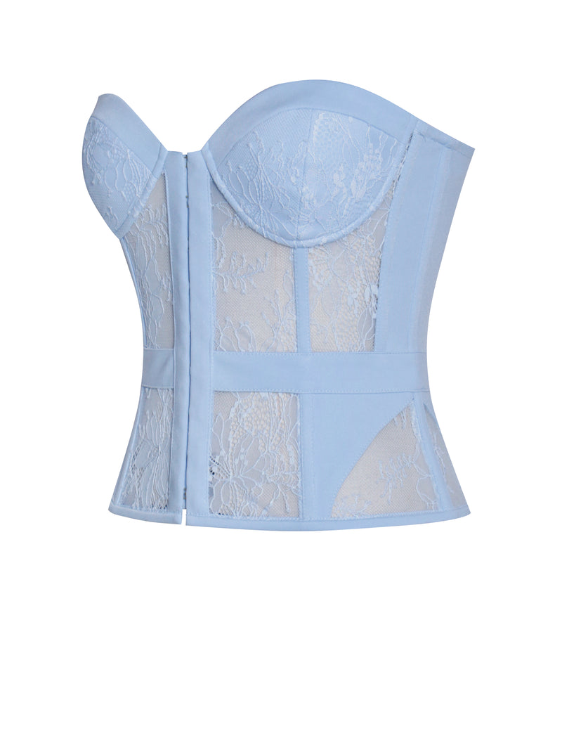 Daniella Blue Lace Boned Corset Top