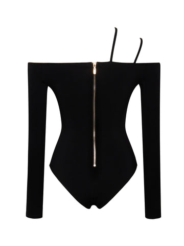 Justine Off Shoulder Stretch Jersey Long Sleeve Bodysuit