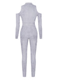 Mona Grey Suede Cutout Detail Long Sleeve Jumpsuit
