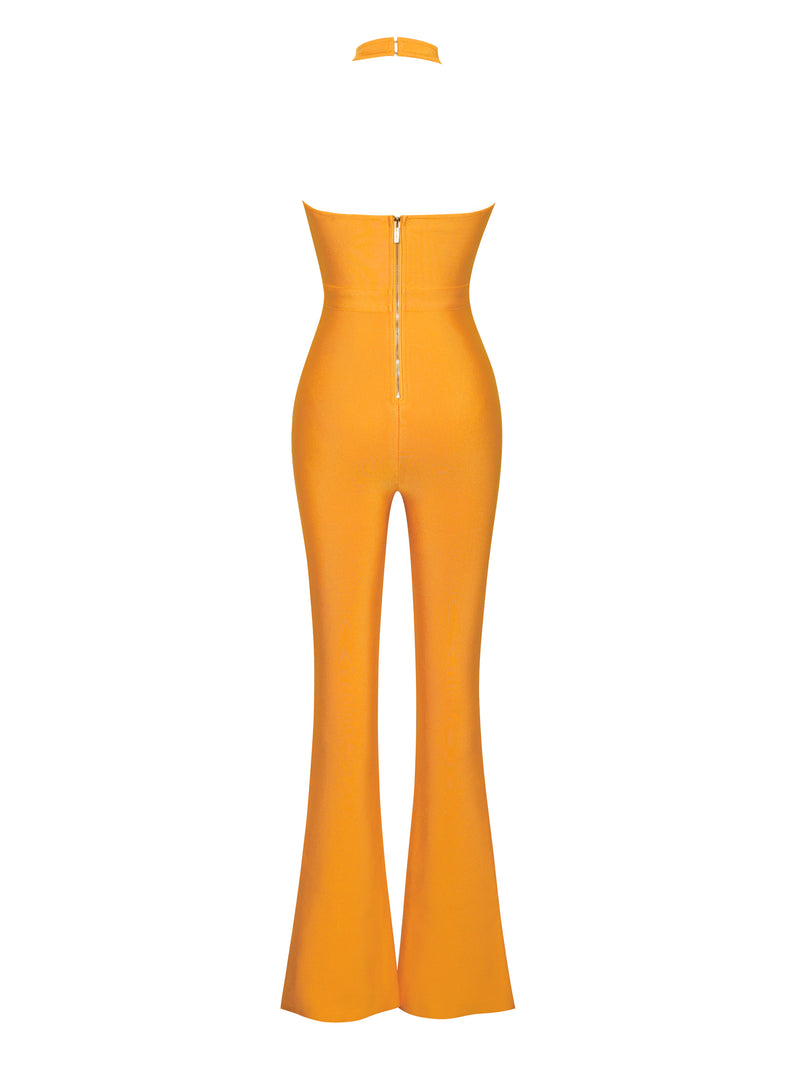 Queens Bee Orange Criss Cross Neckline Bodycon Bandage Flare Jumpsuit - Miss Circle