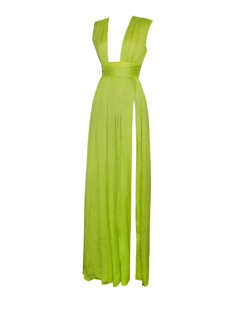 Valley Of Angels Lime Silk Pleated High Slit Maxi Dress
