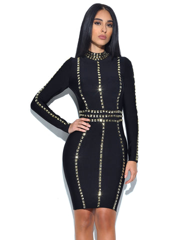 Quinn Gold Stud Detail Long Sleeve Bandage Dress