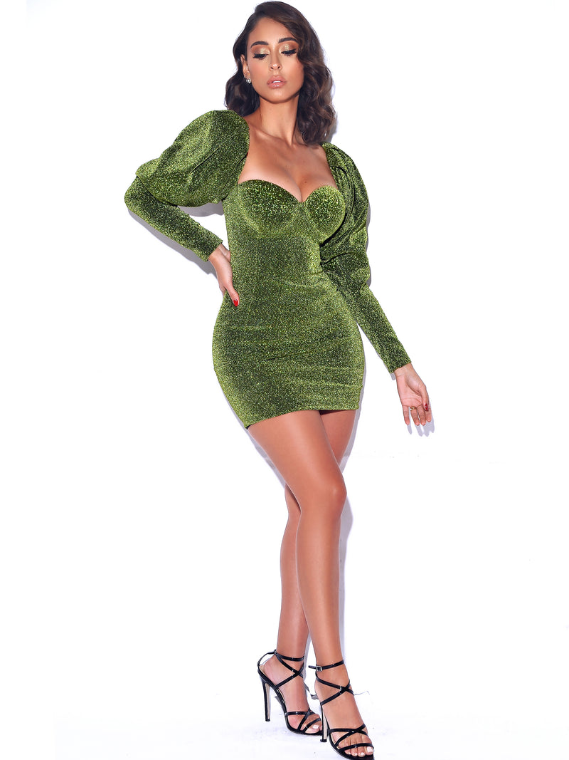 Verina Green Metallic Puff Shoulder Dress - Miss Circle