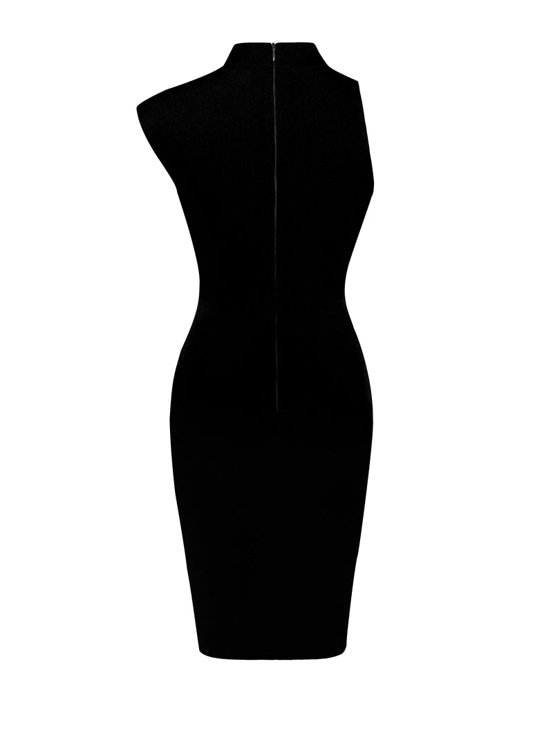 Jolene Black Asymmetric Neck Cutout Detail Stretch Crepe Dress - Miss Circle