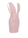 Nova Pale Pink Deep V Waist Tie Stretch Crepe Mini Dress