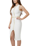 Paulina White Metal Embellished Detail Bandage Dress