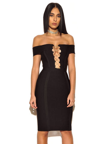 Rosanna Gold Chain Detail Black Off Shoulder Bandage Dress
