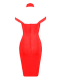 Keaton Red Triangle-Cutouts Bandage Dress - Miss Circle