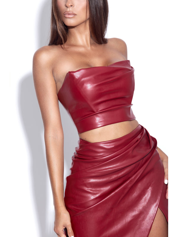 Anja Burgundy Vegan Leather Boned Corset Top