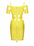 Monica Cutout Detail Yellow Off Shoulder Bandage Dress - Miss Circle