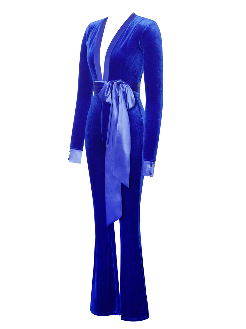 Glorious Royal Blue Long Sleeve Velvet Jumpsuit - Miss Circle