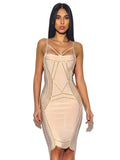 Harper Nude Bandage Dress with Gold Studded Hardware