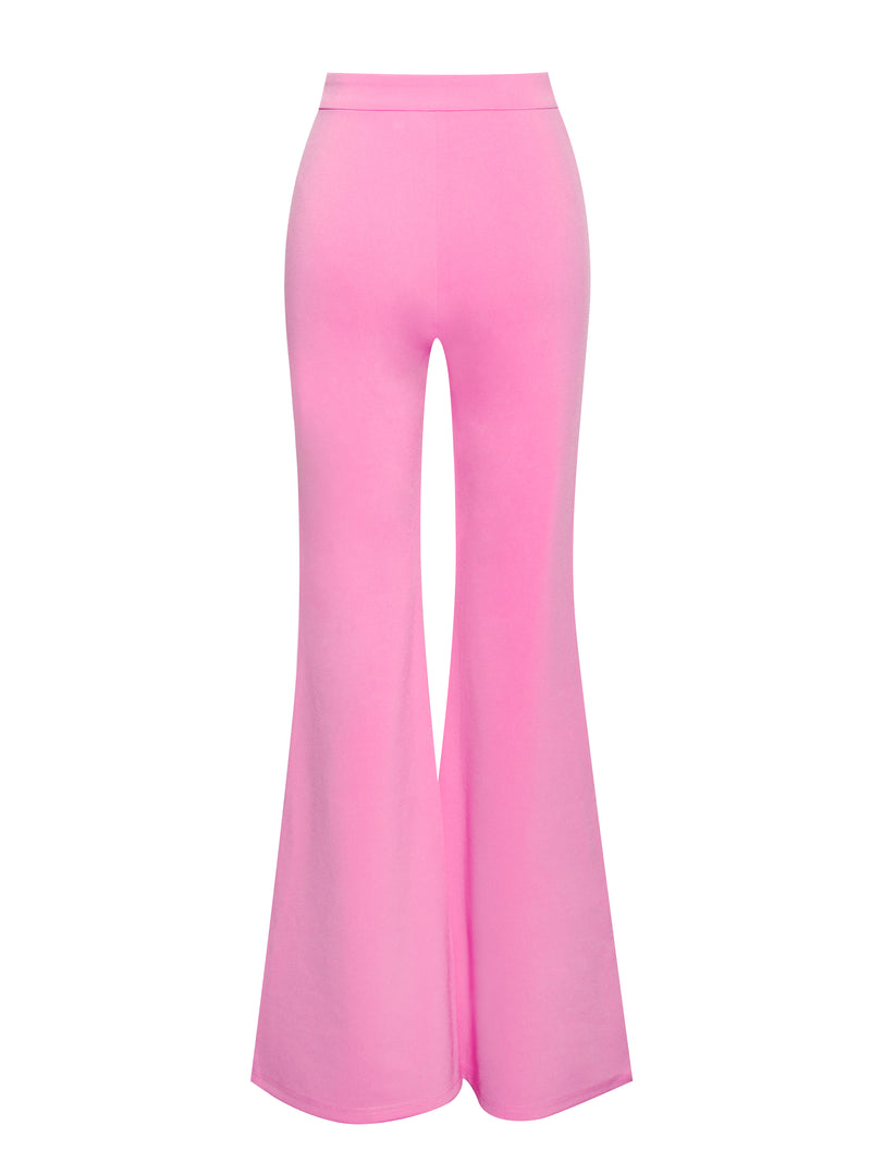 Another Love Pink Stretch Crepe Flared Trousers - Miss Circle