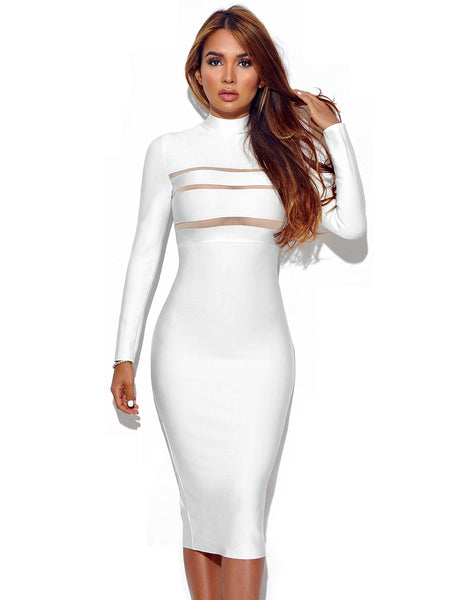 giorgia winter white long sleeve bandage dress � miss circle
