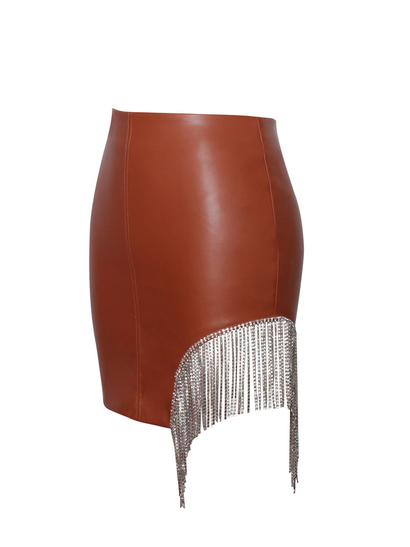 Polina Tan Vegan Leather Crystal Embellished Skirt