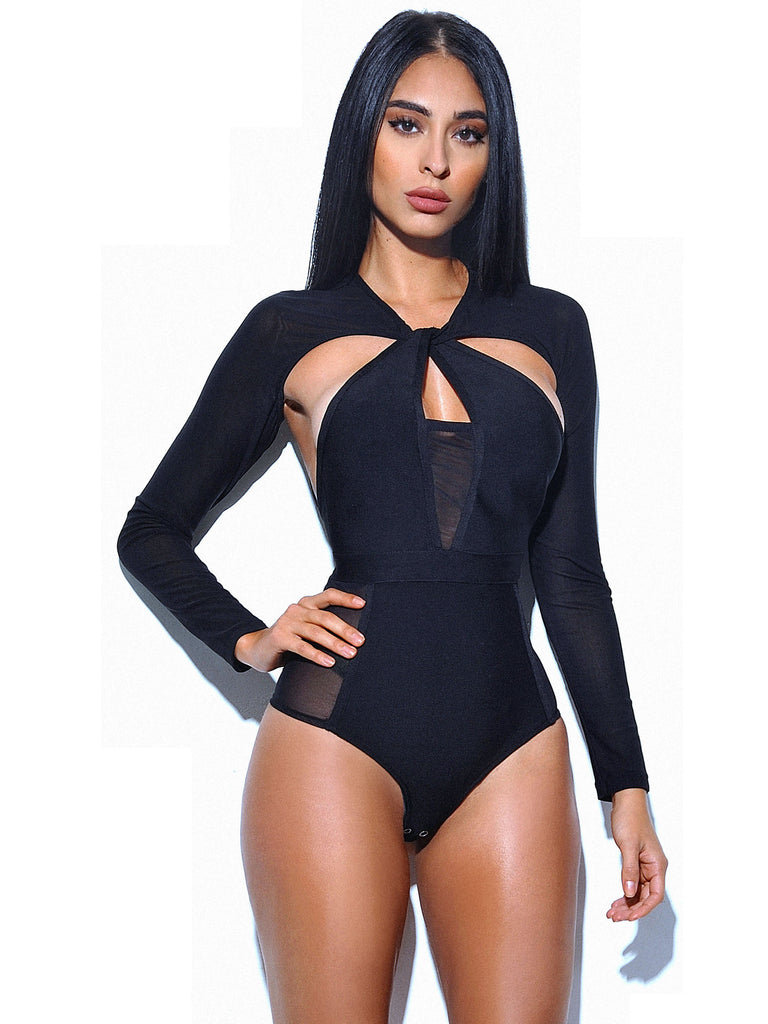 Hope Sheer Long Sleeve Bandage Bodysuit
