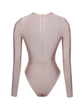 Kamilla Beige Long Sleeve Lace Up Bandage Bodysuit