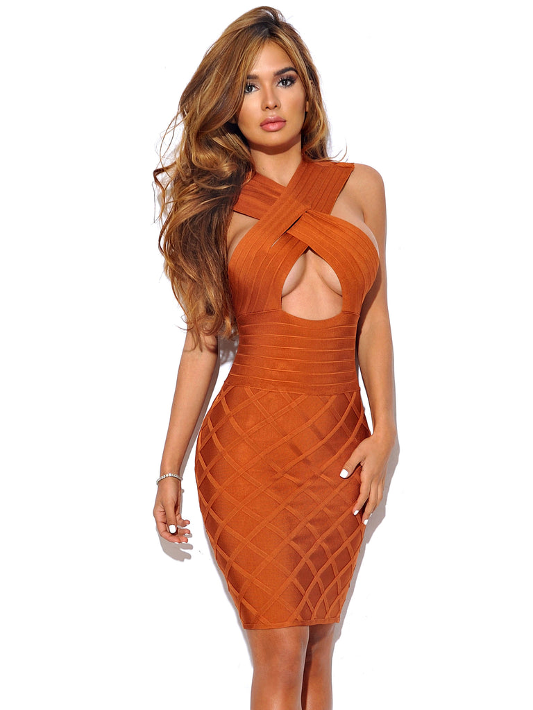 Neha Criss Cross Halter Top Keyhole Bandage Dress