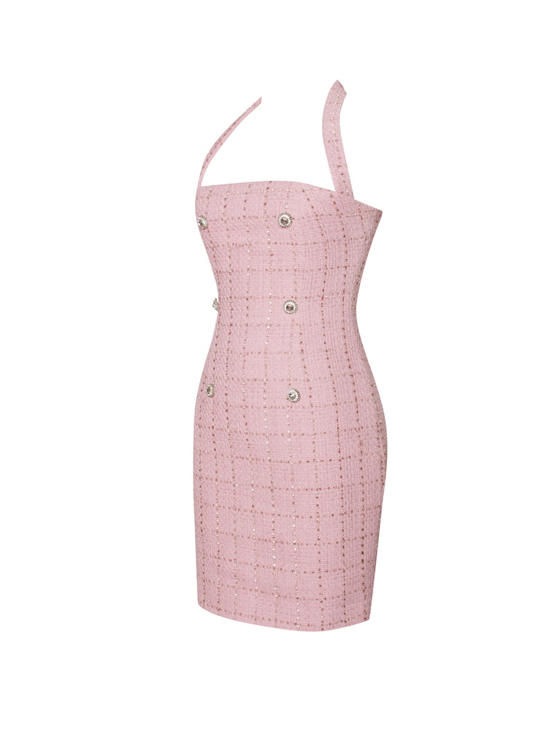 Zella Pink Halter Neck Tweed Dress