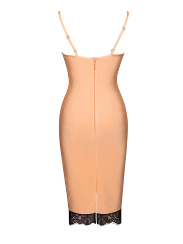Flora Peach Bandage Dress with Black Lace Detail (PRE-ORDER ONLY)