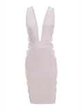Minerva Cutout Detail V Neck Bandage Dress
