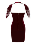 Victoria Removable Collar Stretch Velvet Strapless BodyCon Dress