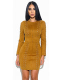 Tala Lace Lattice Detail Long Sleeve Suede Bodycon Dress
