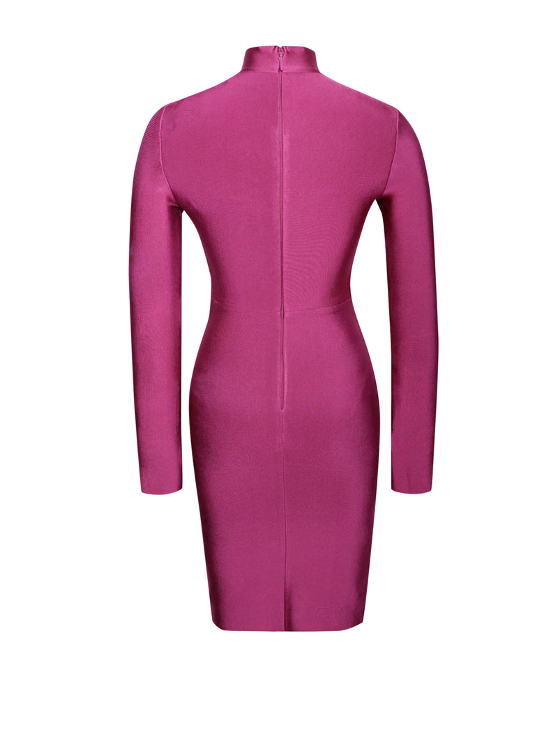 Waylen Ruby Pink Long Sleeve Lace Bandage Dress