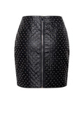 Rowena Stud Detail Quilted Vegan Leather Zip Up Skirt