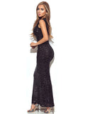 Winona Sleeveless Black Beaded Gown