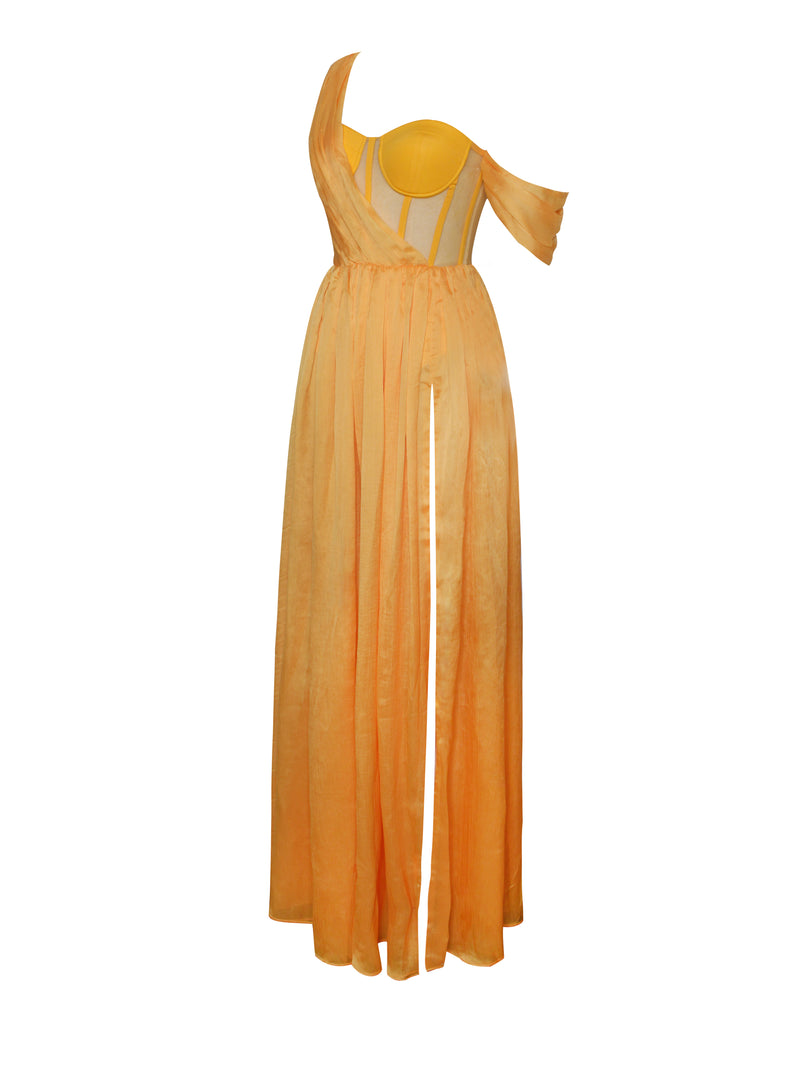 Back In Style Orange Silk Pleated Corset High Slit Maxi Dress