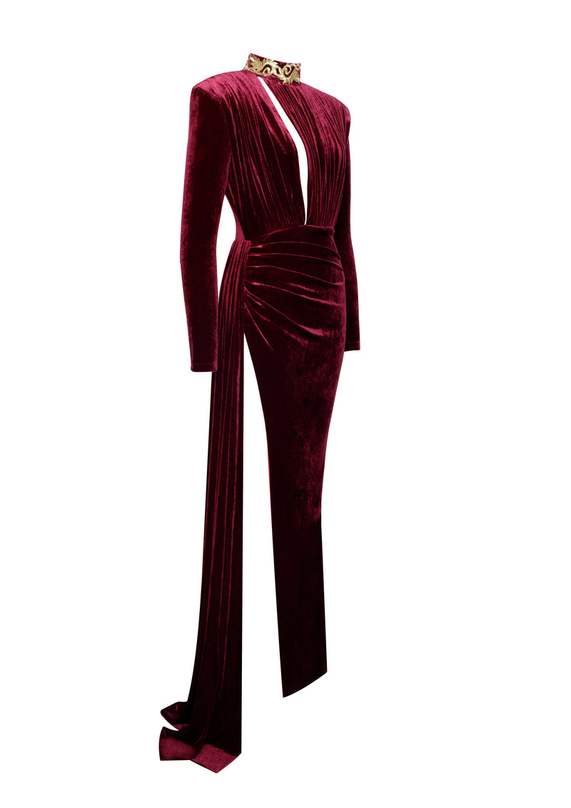 Zenaida Burgundy Cutout High Slit Velvet Gown